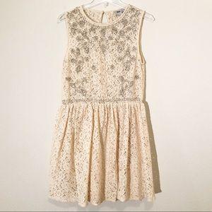 ASOS Sleeveless Beaded and Lace Mini Dress, Sz 10